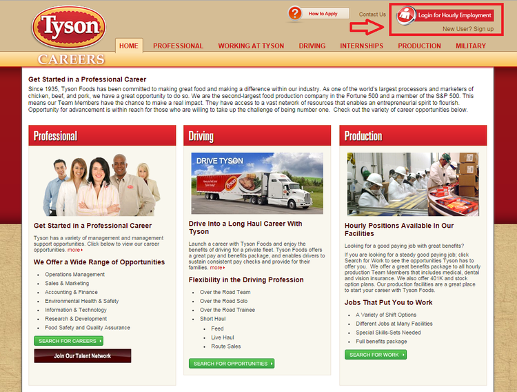 apply Tyson Foods online step 1