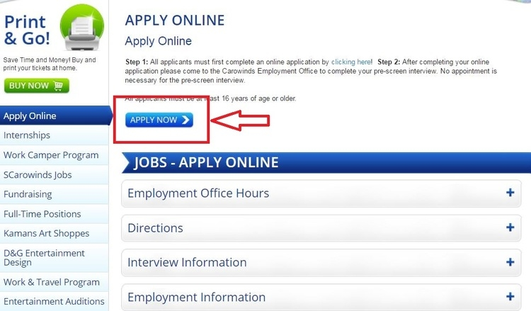 apply Carowinds online step 1