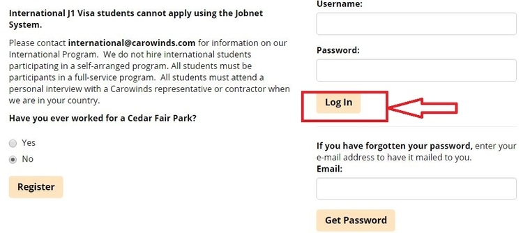 apply Carowinds online step 2