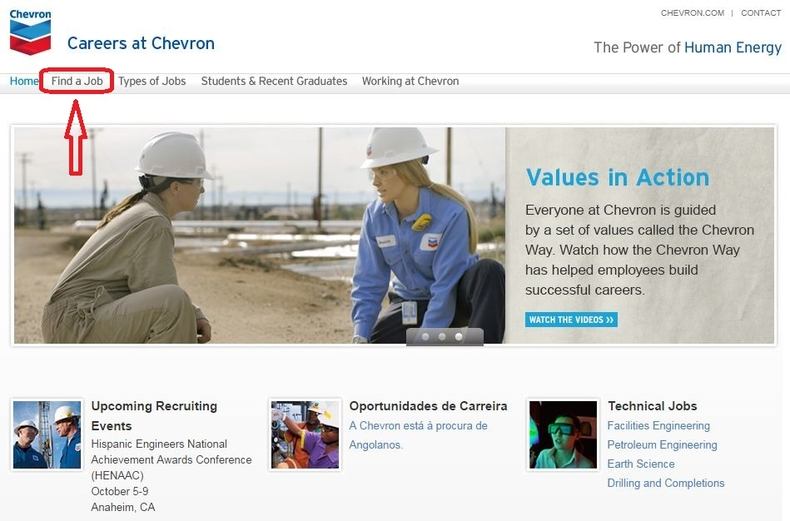 apply Chevron online step 1