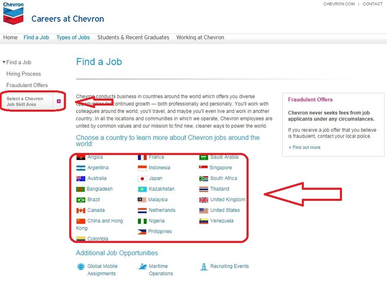 apply Chevron online step 2