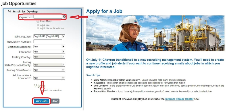 apply Chevron online step 3