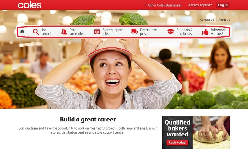 apply Coles online step 1