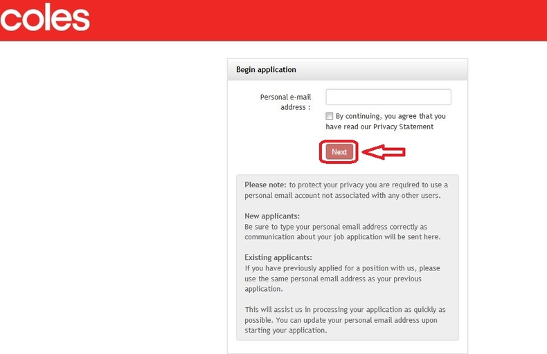 apply Coles online step 4