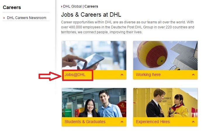 apply DHL online step 1