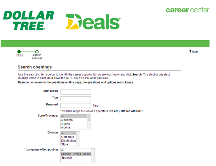 apply Dollar Tree online step 4