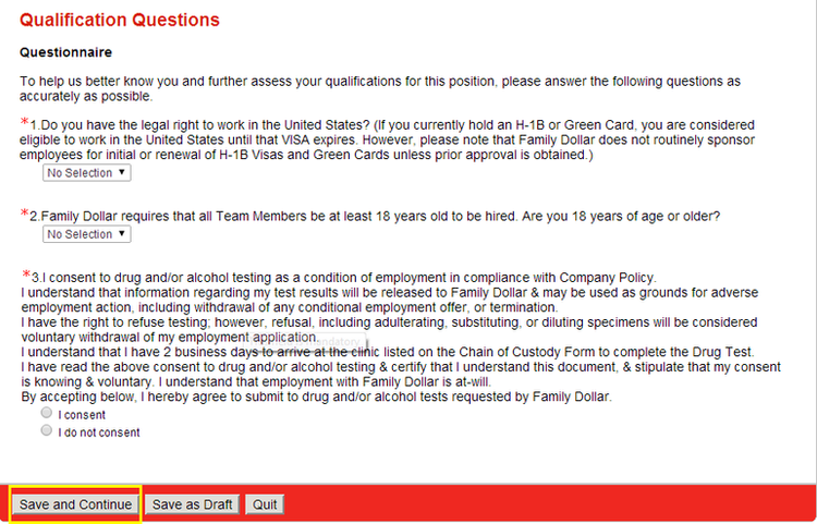 apply Family Dollar online step 6