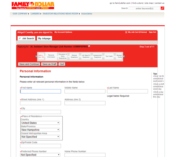 apply Family Dollar online step 8