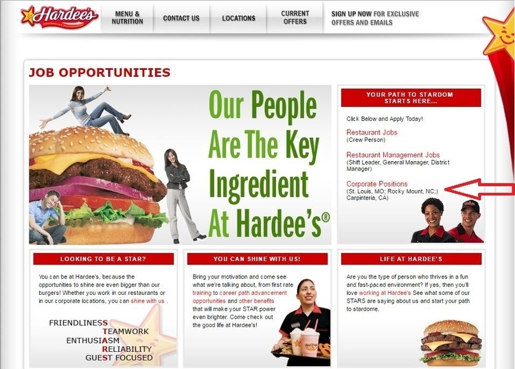 apply Hardee's online step 1