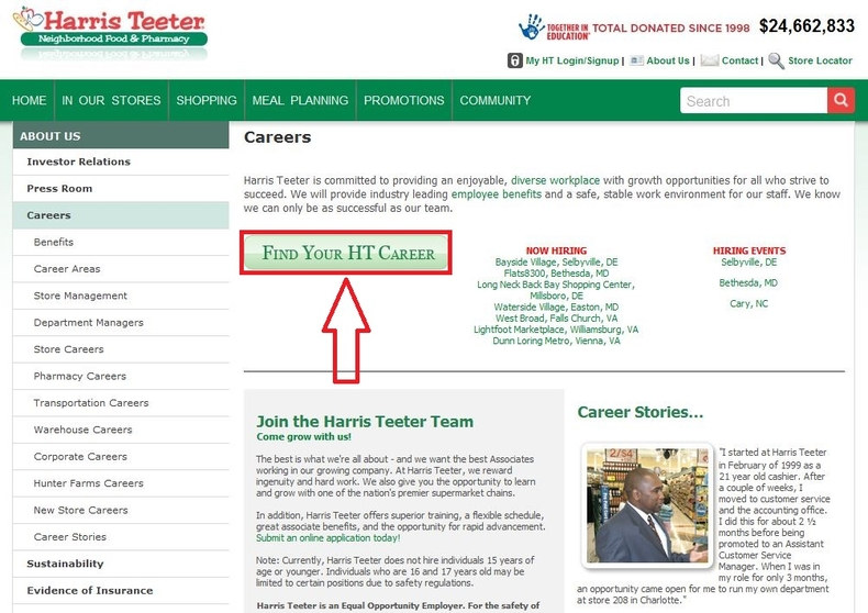 apply Harris Teeter online step 1
