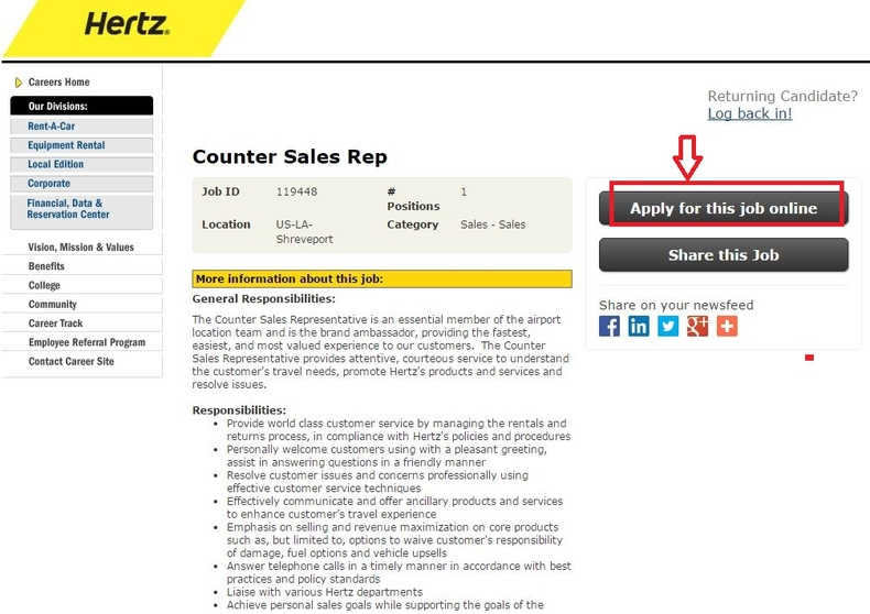 apply Hertz online step 4