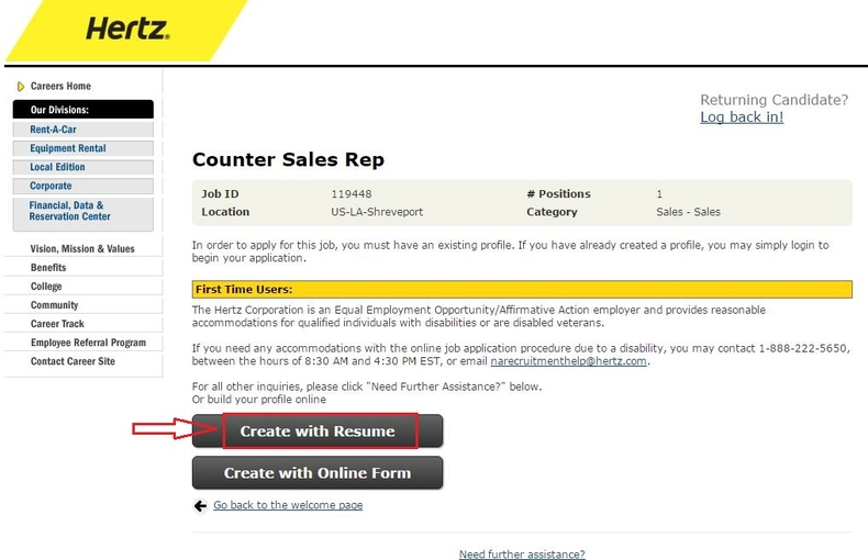 apply Hertz online step 5