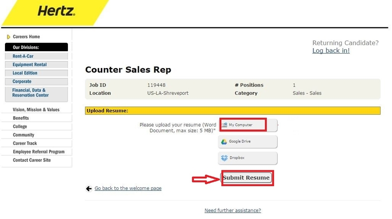 apply Hertz online step 6
