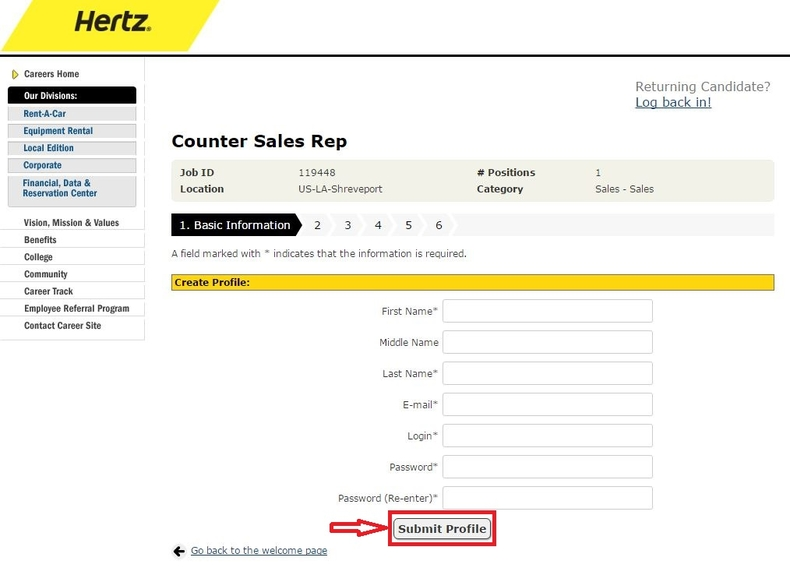 apply Hertz online step 7