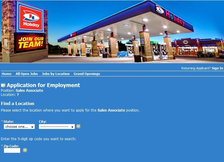 apply Holiday Stationstores online step 4