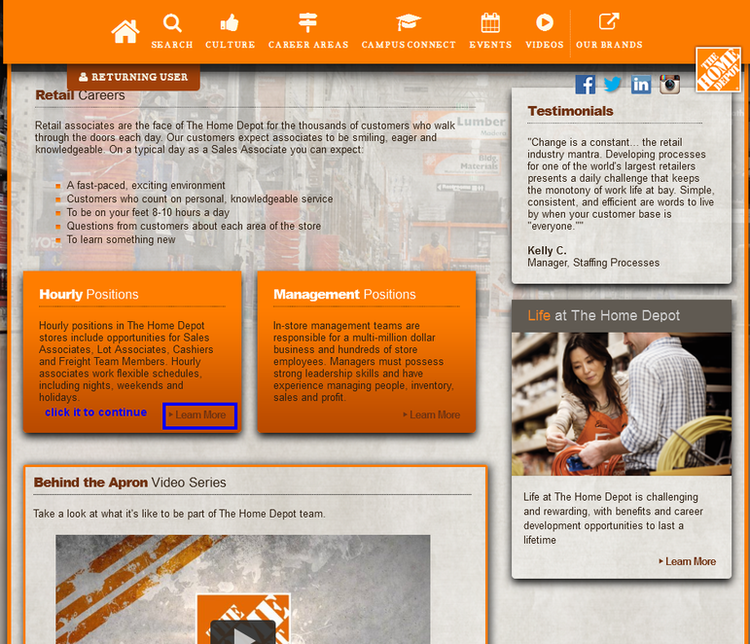Apply Home Depot Online Step 2