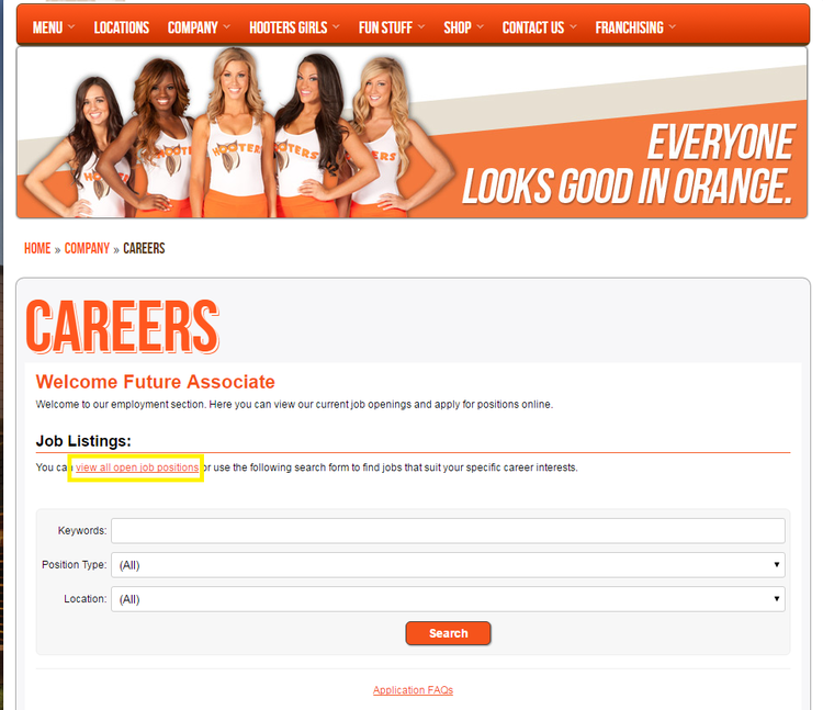 apply Hooters online step 1