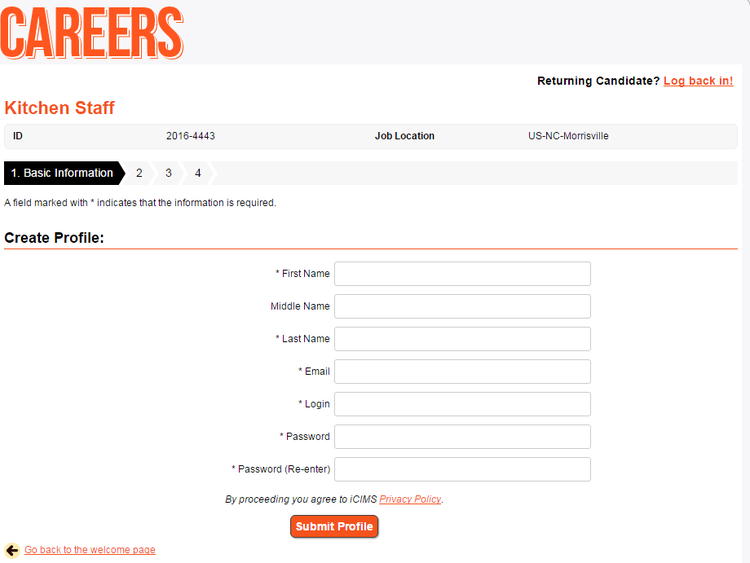 apply Hooters online step 5