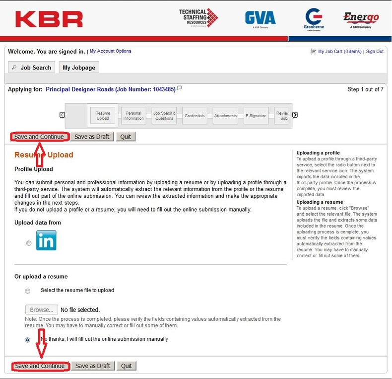 apply KBR online step 5