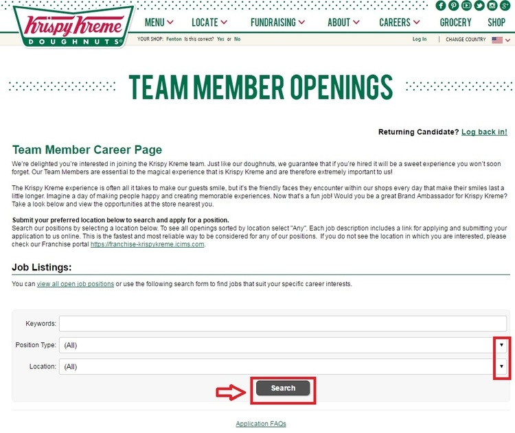 apply Krispy Kreme online step 2