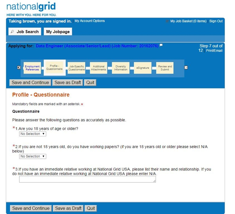 apply National Grid online step 14