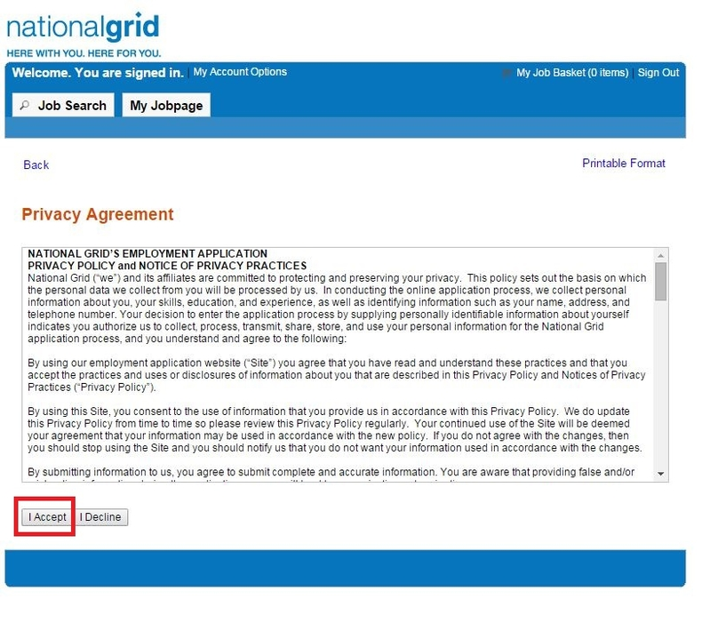 apply National Grid online step 7