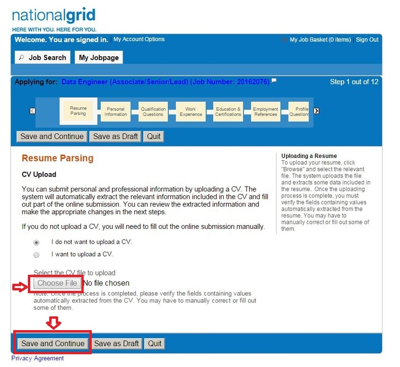 apply National Grid online step 8