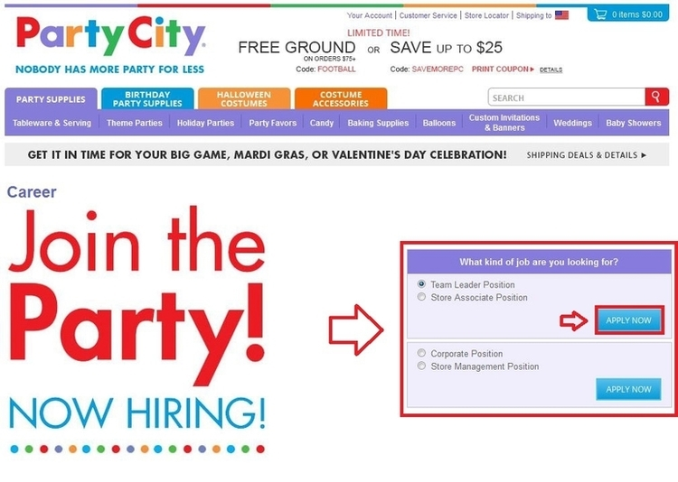 apply Party City online step 1