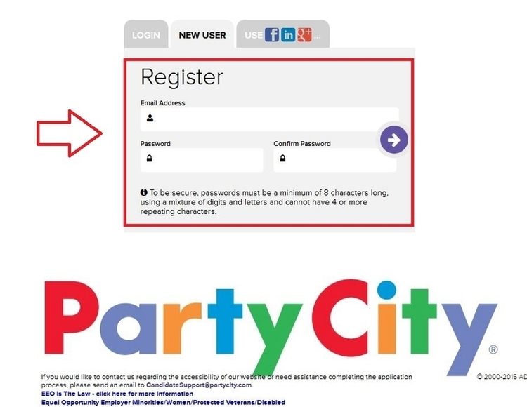 apply Party City online step 4