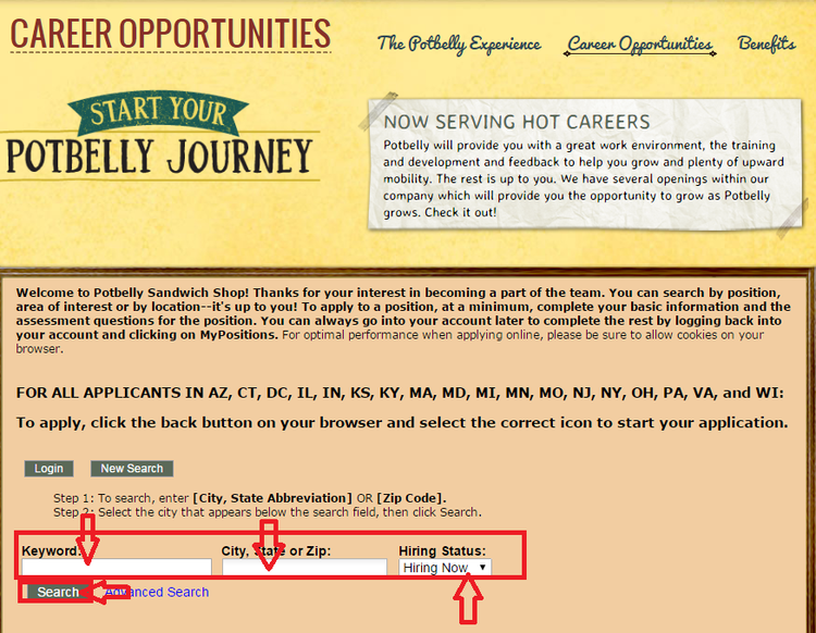 apply Potbelly Sandwich Works online step 2
