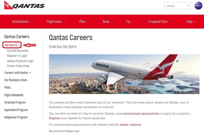 apply Qantas online step 1