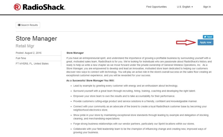 apply RadioShack online step 3