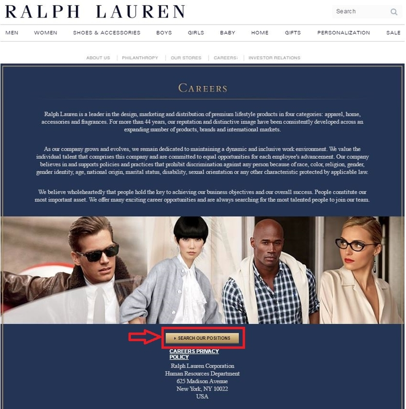 apply Ralph Lauren online step 1