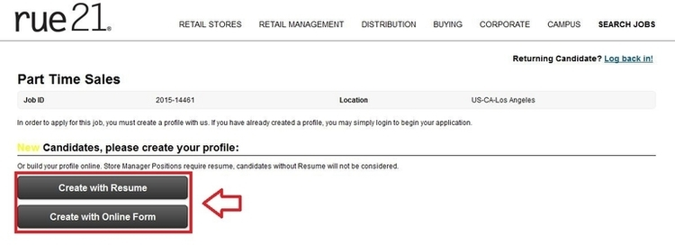 apply Rue 21 online step 4