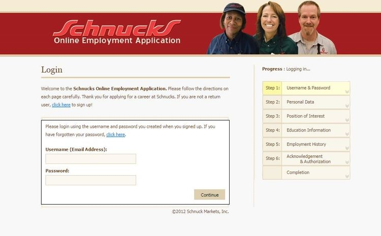 apply Schnucks online step 2