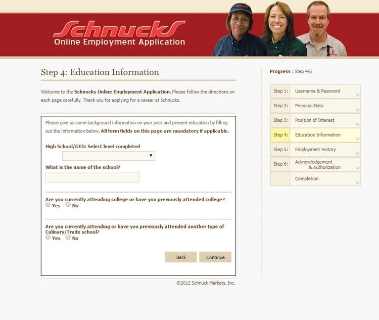 apply Schnucks online step 5