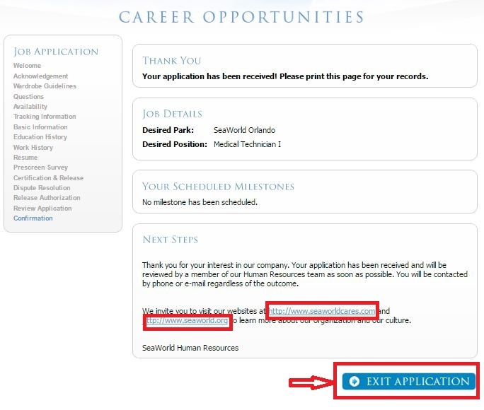 apply SeaWorld online step 10