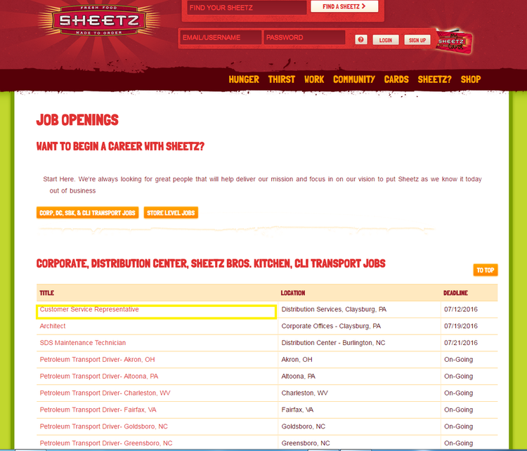 apply Sheetz online step 1