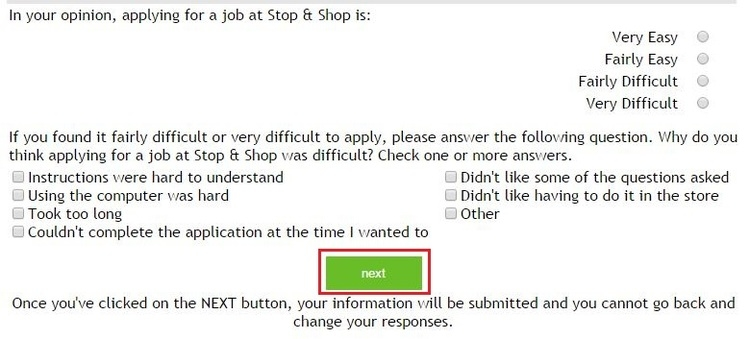 apply Stop And Shop online step 9