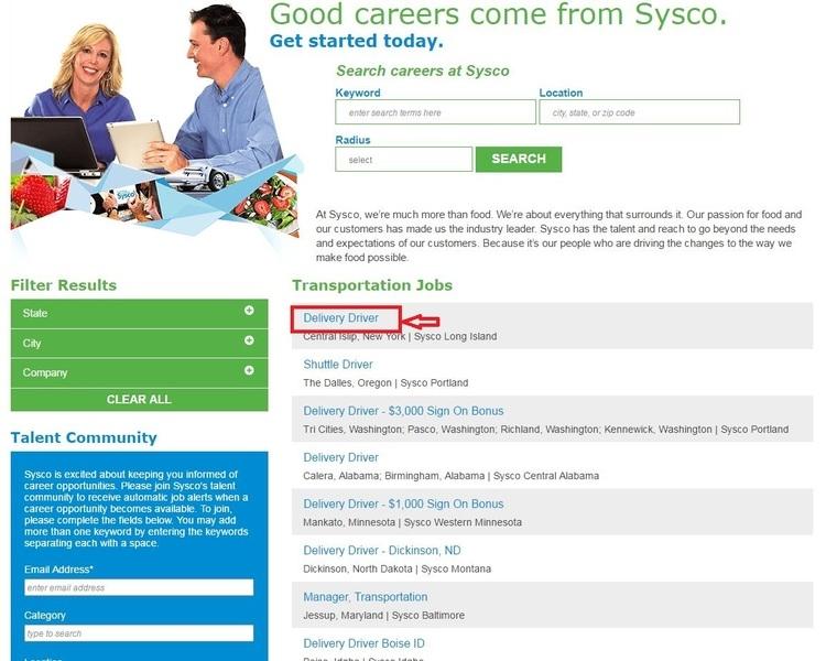 apply Sysco online step 2