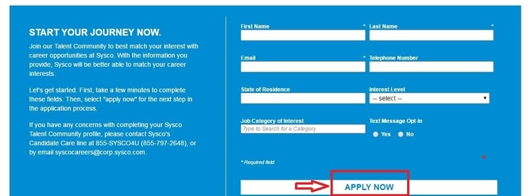 apply Sysco online step 4