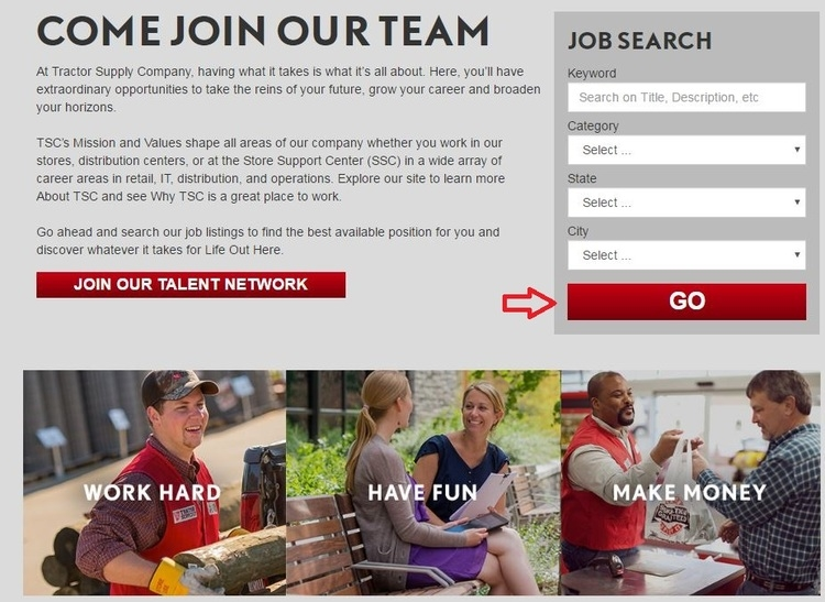 apply Tractor Supply Company online step 1