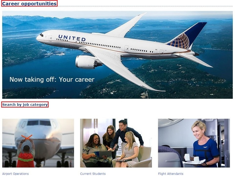 apply United Airlines online step 1