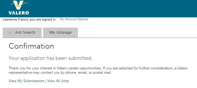 apply Valero online step 10