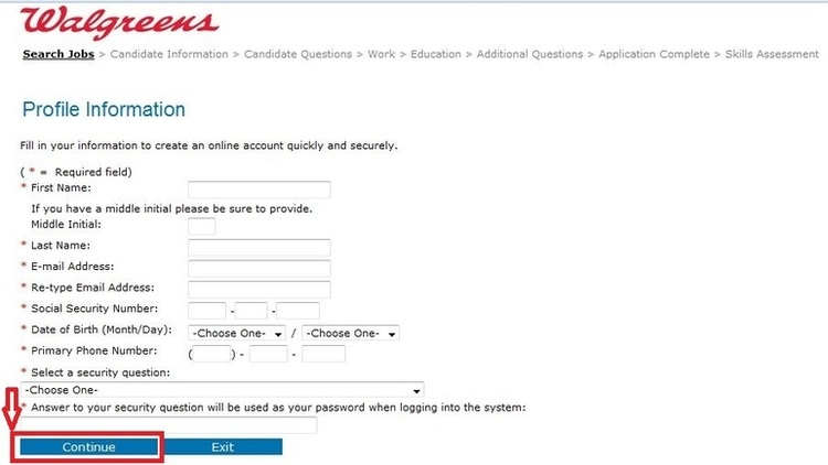 apply Walgreens online step 6