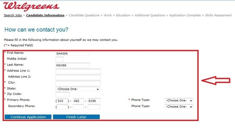 apply Walgreens online step 9