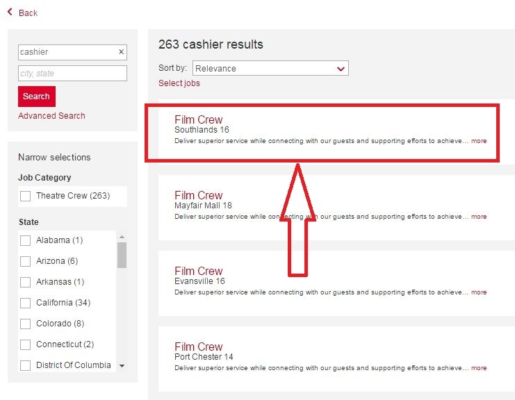 apply AMC Theatres online step 3