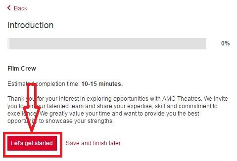 apply AMC Theatres online step 5