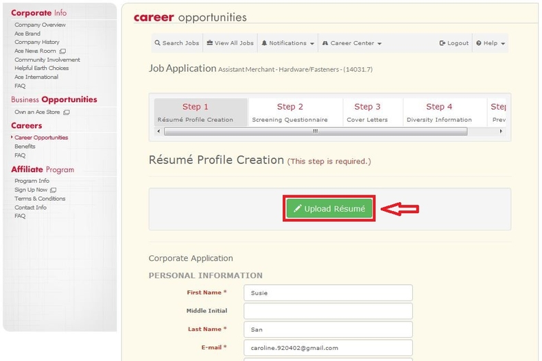 apply Ace Hardware online step 6