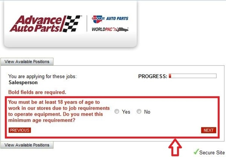 apply Advance Auto Parts online step 3